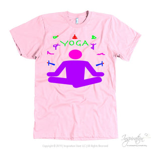 Yoga Meditation Pastel & Neon - (Style A) - T-Shirt - American Apparel Mens / Pink / S - Inspiration Store Llc