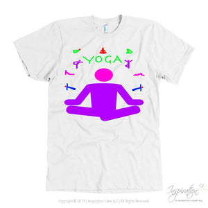 Yoga Meditation Pastel & Neon - (Style A) - T-Shirt - American Apparel Mens / White / S - Inspiration Store Llc