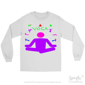 Yoga Meditation Pastel & Neon - (Style A) - T-Shirt - Gildan Long Sleeve Tee / White / S - Inspiration Store Llc