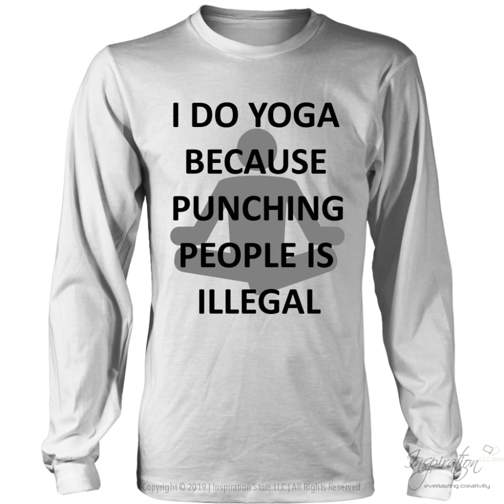 Yoga Punch - (Style B) - T-Shirt - District Long Sleeve Shirt / White / S - Inspiration Store Llc