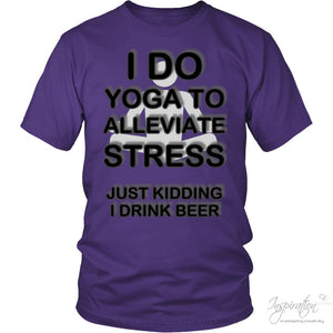 Yoga Stress & Beer - Free Shipping - T-Shirt - District Unisex Shirt / Purple / S - Inspiration Store Llc