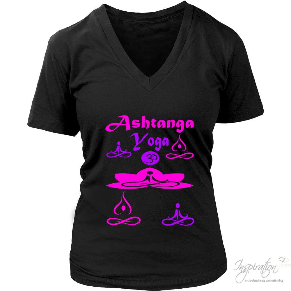 Yogi Womans Ashtanga Tops - (Style B) - T-Shirt - District Womens V-Neck / Black / S - Inspiration Store Llc