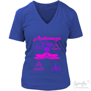 Yogi Womans Ashtanga Tops - (Style B) - T-Shirt - District Womens V-Neck / Royal Blue / S - Inspiration Store Llc