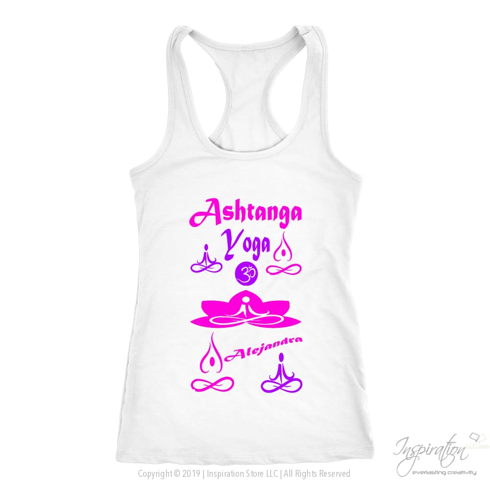 Yogi Womans Top - Alejandra (Style D) Free Shipping - T-Shirt - Next Level Racerback Tank / White / Xs - Inspiration Store Llc