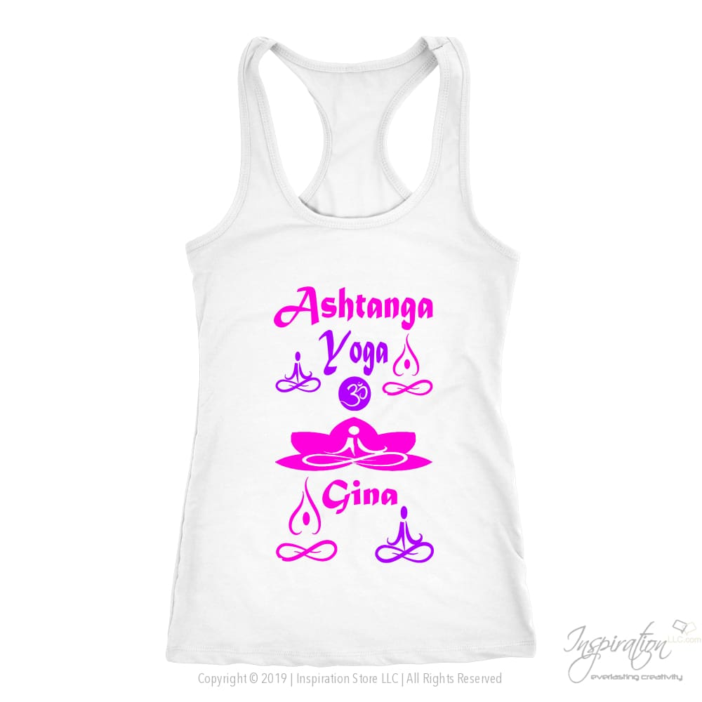 Yogi Womans Tops - Gina (Style A) Free Shipping - T-Shirt - Next Level Racerback Tank / White / Xs - Inspiration Store Llc