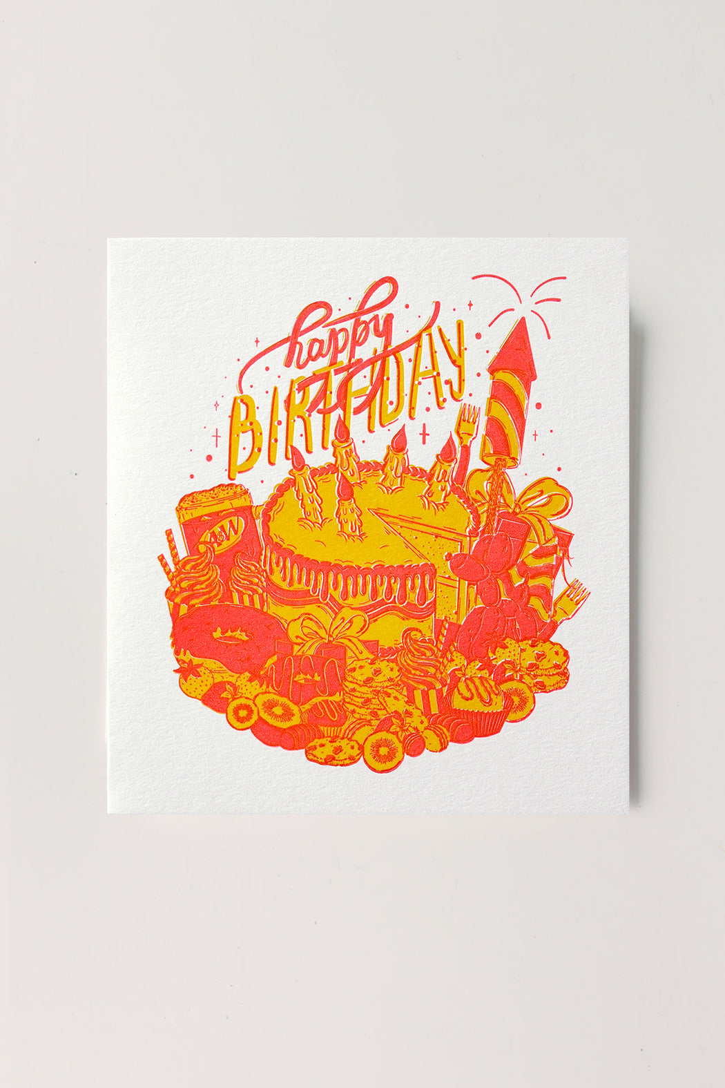 Happy Birthday Letterpressed Card - Yellow