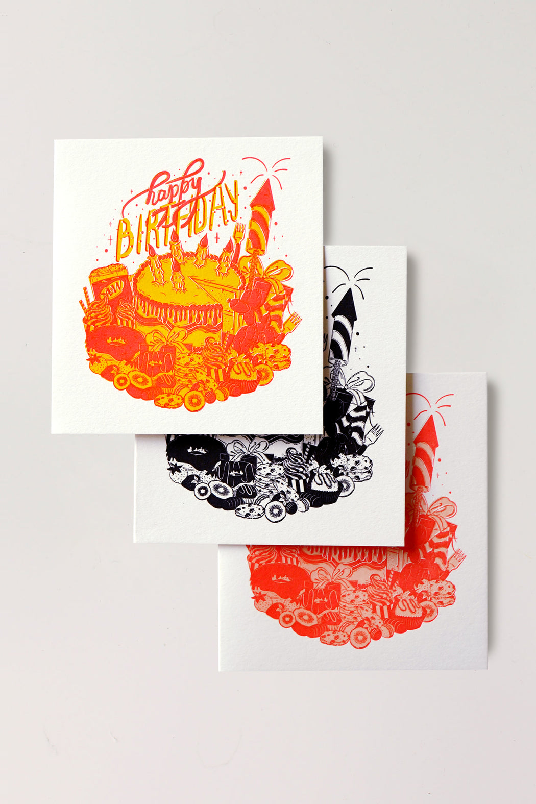 Happy Birthday Letterpressed Card - Black
