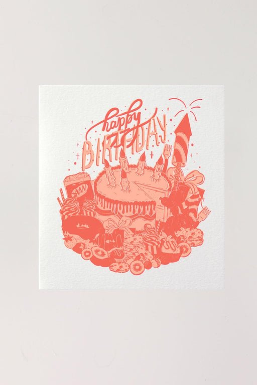 Happy Birthday Letterpressed Card - Pink