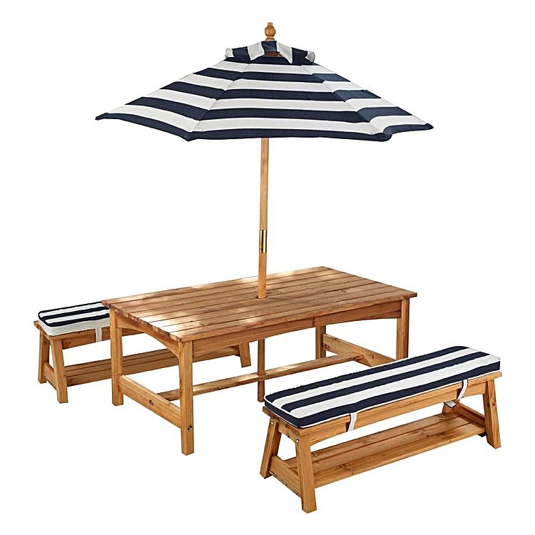 KidKraft Outdoor Table & Bench Set with Cushions & Umbrella
