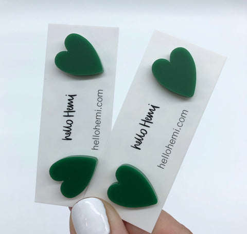 Hearts  - Matte Forest Green