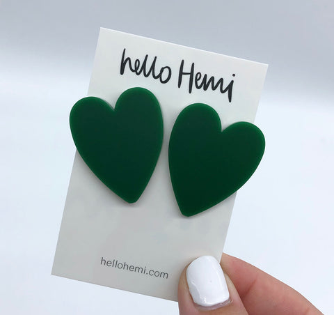 True LOVE Hearts  - Matte Forest Green