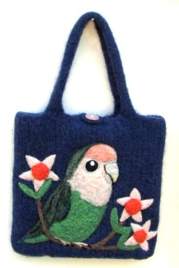 Wool Felted Bag Lovebird