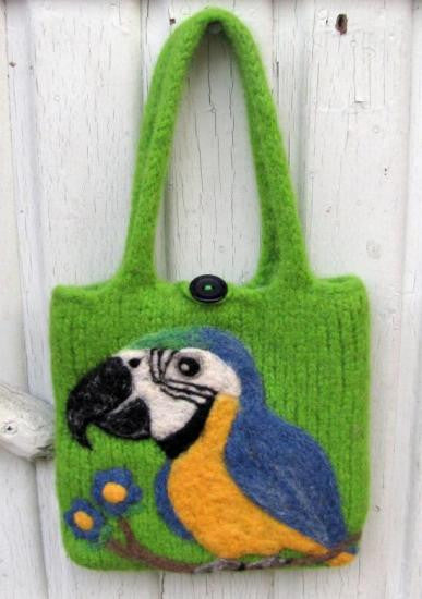 """AVAILABLE upon request""  Macaw Wool Felted Bag"
