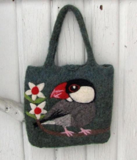 """AVAILABLE upon request""  Java Sparrow Wool Felted Bag"