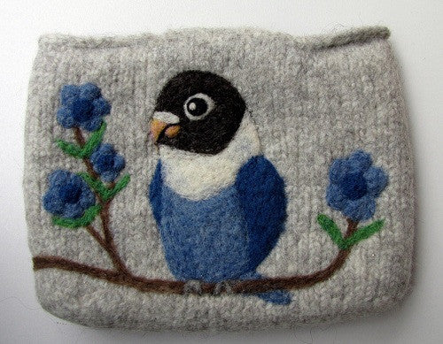"""AVAILABLE upon request""  Lovebird Wool Felted Clutch Bag Purse"