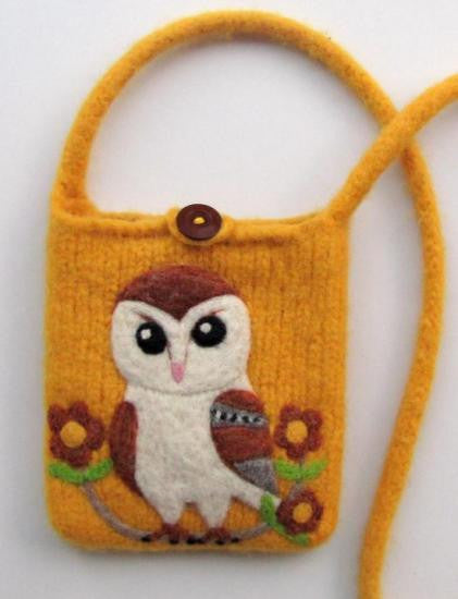 Owl Wool Felted Pochette Bag Purse