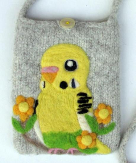 """AVAILABLE upon request""  Budgie Budgerigar Parakeet Wool Felted Pochette Bag Purse"