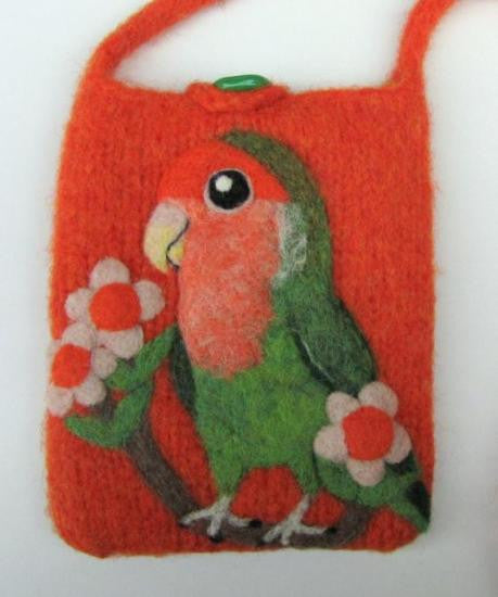 """AVAILABLE upon request""  Lovebird Wool Felted Pochette Bag Purse"