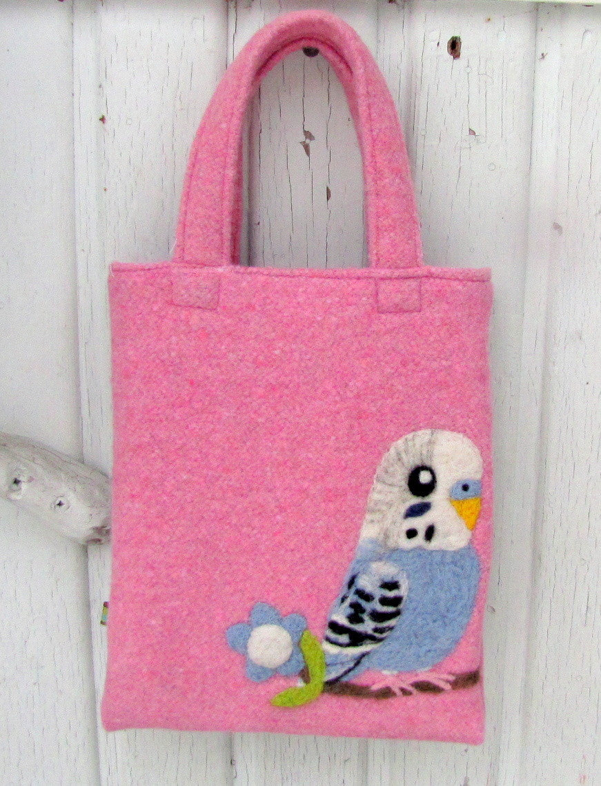 Budgie Budgerigar Parakeet Needle Felted A5 Tote
