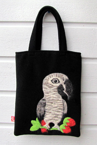 """AVAILABLE upon request"" African Gray parrot Needle Felted A5 Tote"