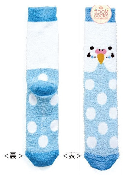 Budgie Budgerigar Parakeet Puffy Fluffy Room Socks Blue - Boutique SWEET BIRDIE