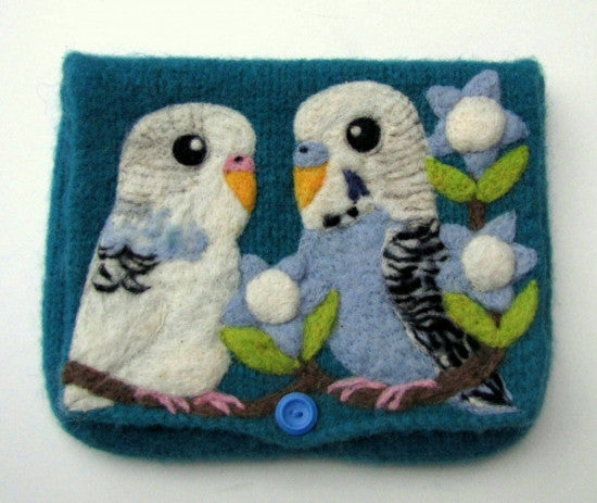 """AVAILABLE upon request""  Budgie Budgerigar Parakeet Clutch Bag Purse"