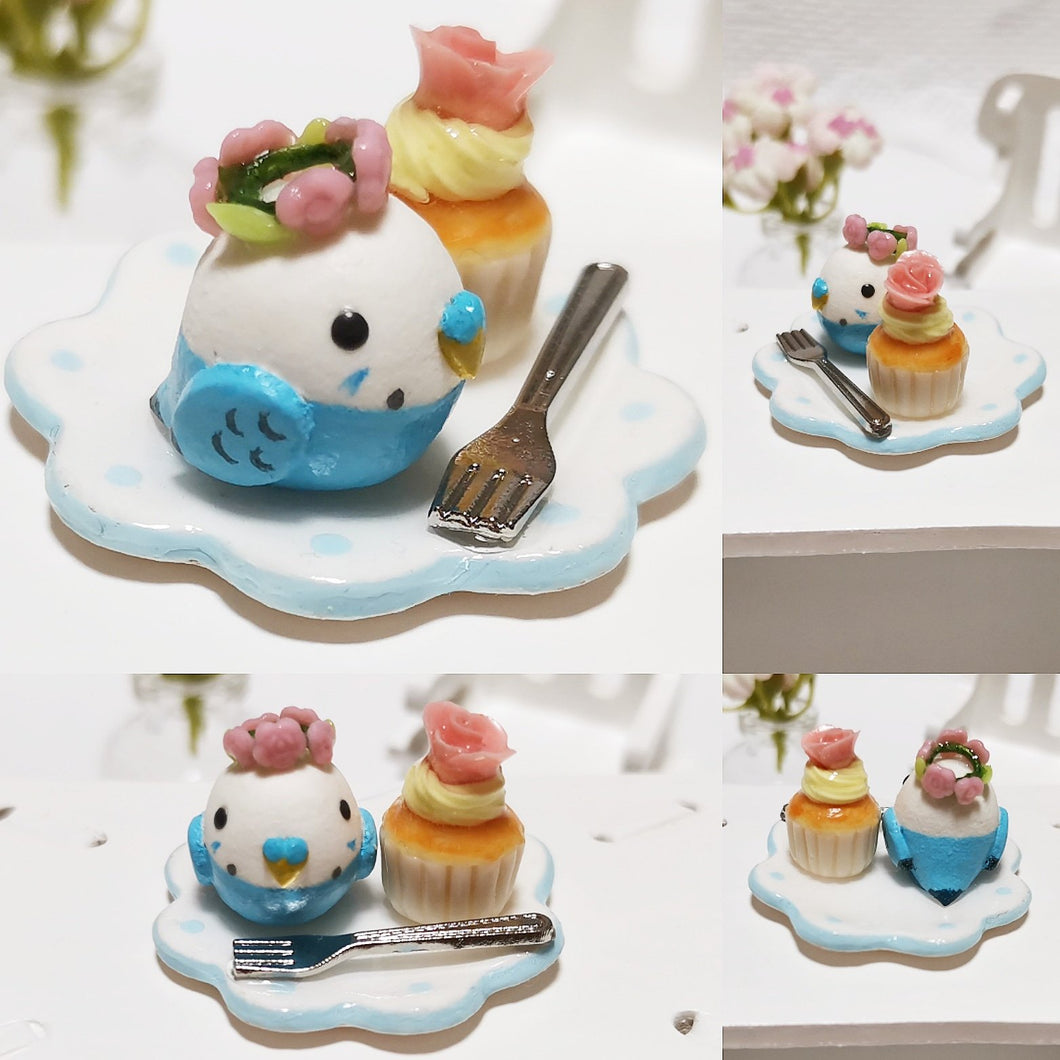 Miniature Budgie Budgerigar Parakeet with Rose Cupcake
