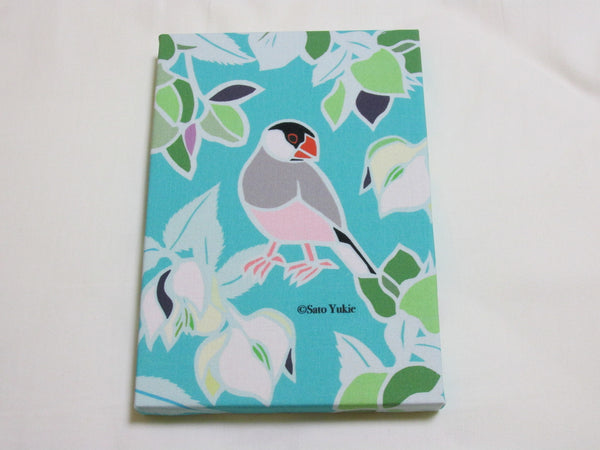 Fabric Art Panel Java Sparrow with Christmas Rose