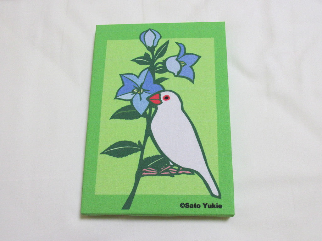 Fabric Art Panel Java Sparrow with Balloon Flower - Boutique SWEET BIRDIE