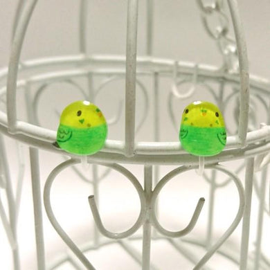Budgie Budgerigar Parakeet Invisible Clip On Non Pierced Earrings POM POM POPPEE