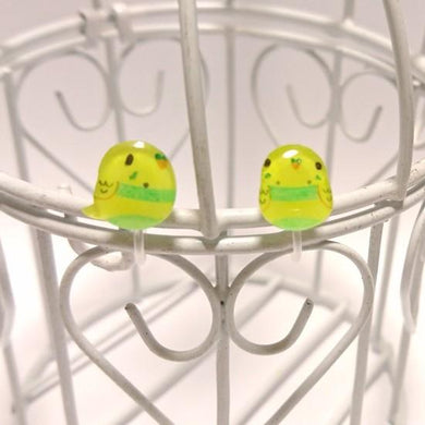 Budgie Budgerigar Parakeet Invisible Clip On Non Pierced Earrings