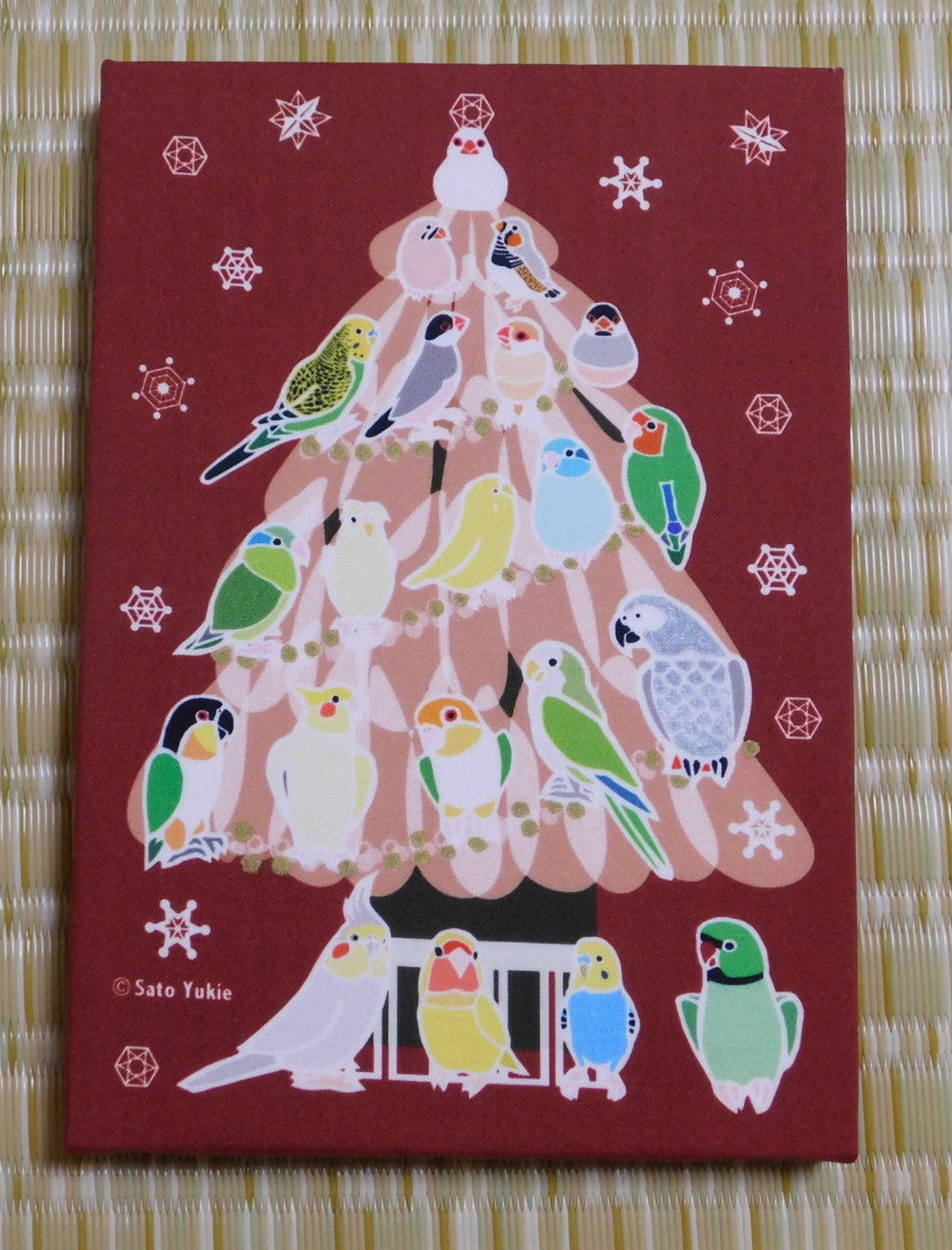 Bird Christmas Tree Fabric Art Panel Java Sparrow Zebra Finch Budgerigar Lovebird Pacific Parrotlet Black-Headed Caique White-Bellied Caique Monk Parakeet African Gray Parrot Cockatiel Indian Ringneck Parakeet