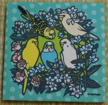 Budgie Budgerigar Parakeet Fabric Art Panel Light Blue