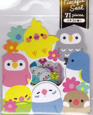 Stickers Flakes with Strawberry Flavor Cockatiel Owl Bourke's Parrot Lovebird Budgie Budgerigar Parakeet Java Sparrow, etc. 71 pieces (79389) - Boutique SWEET BIRDIE
