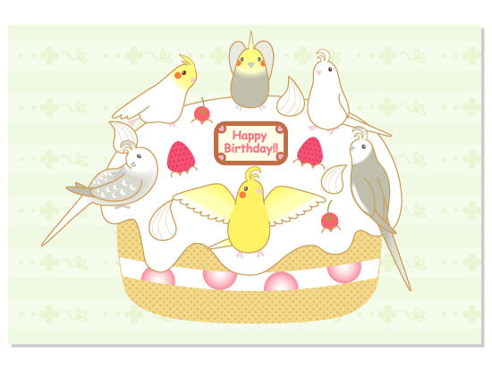 Cockatiel Birthday Cake Postcard Pom-004 - Boutique SWEET BIRDIE