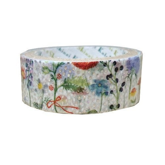 Fleurir Flower Japanese Silver Glitter Washi Tape Shinzi Katoh Design (ks-dt-10079)