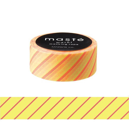 Neon Light Yellow Stripe Maste Washi Tape Masking Tape