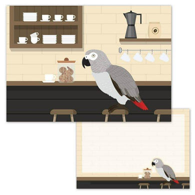 African Gray Parrot in the Cafe Memo Pad