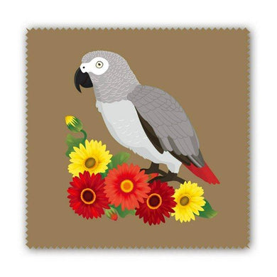 African Gray Parrot and Gerbera Lens Cloth Microfiber Cloth