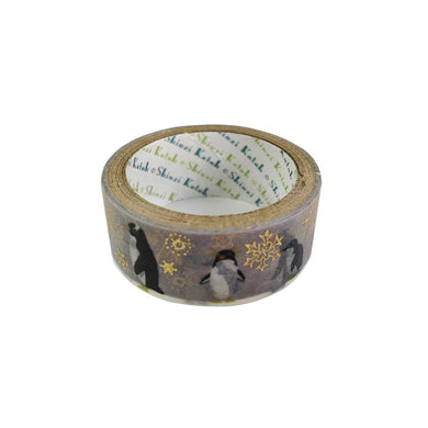 Penguin Gold Glitter Japanese Washi Tape Shinzi Katoh Design - Boutique SWEET BIRDIE
