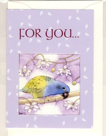 Blue-headed Parrot Message Card Note Card - Boutique SWEET BIRDIE