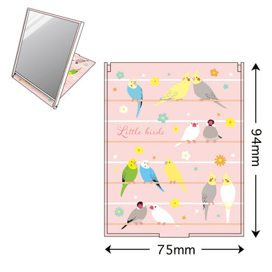 Compact Mirror Pocket Mirror Standing Mirror Budgie Budgerigar Parakeet Cockatiel Java Sparrow Finch - Boutique SWEET BIRDIE