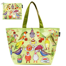 Bird Tea Party Cool Bag Eco Bag Shopping Bag with a Pouch Budgerigar Cockatiel Lovebird Black-Headed Caique, Bourke's Parakeet, etc. - Boutique SWEET BIRDIE