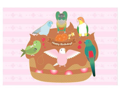 Birthday Cake Postcard Pacific Parrotlet Green-Cheeked Parakeet Conure White-Bellied Caique Red-rumped Parrot Bourke's Parakeet Barred Parakeet - Boutique SWEET BIRDIE