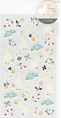 Duck with Flowers Japanese Washi Stickers with Gold Accent 2614102