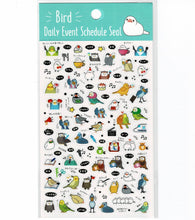 Bird Schedule Stickers with Gold Accent Budgie Budgerigar, Parakeet Long-tailed Tit Java Sparrow Owl Cockatiel Shoebill