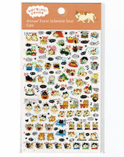 Cat Schedule Stickers with Gold Accent