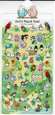 Birds on the Tree Stickers with Gold Accent Budgie Budgerigar Parakeet Love Bird Cockatiel Macaw Java Sparrow Bourke's Parakeet Java Sparrow Cockatoo Long-tailed Tit Flamingo Shoebill, etc.