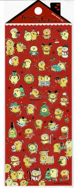 Yellow Bird Chick Chickpea Christmas Stickers with Gold Accent