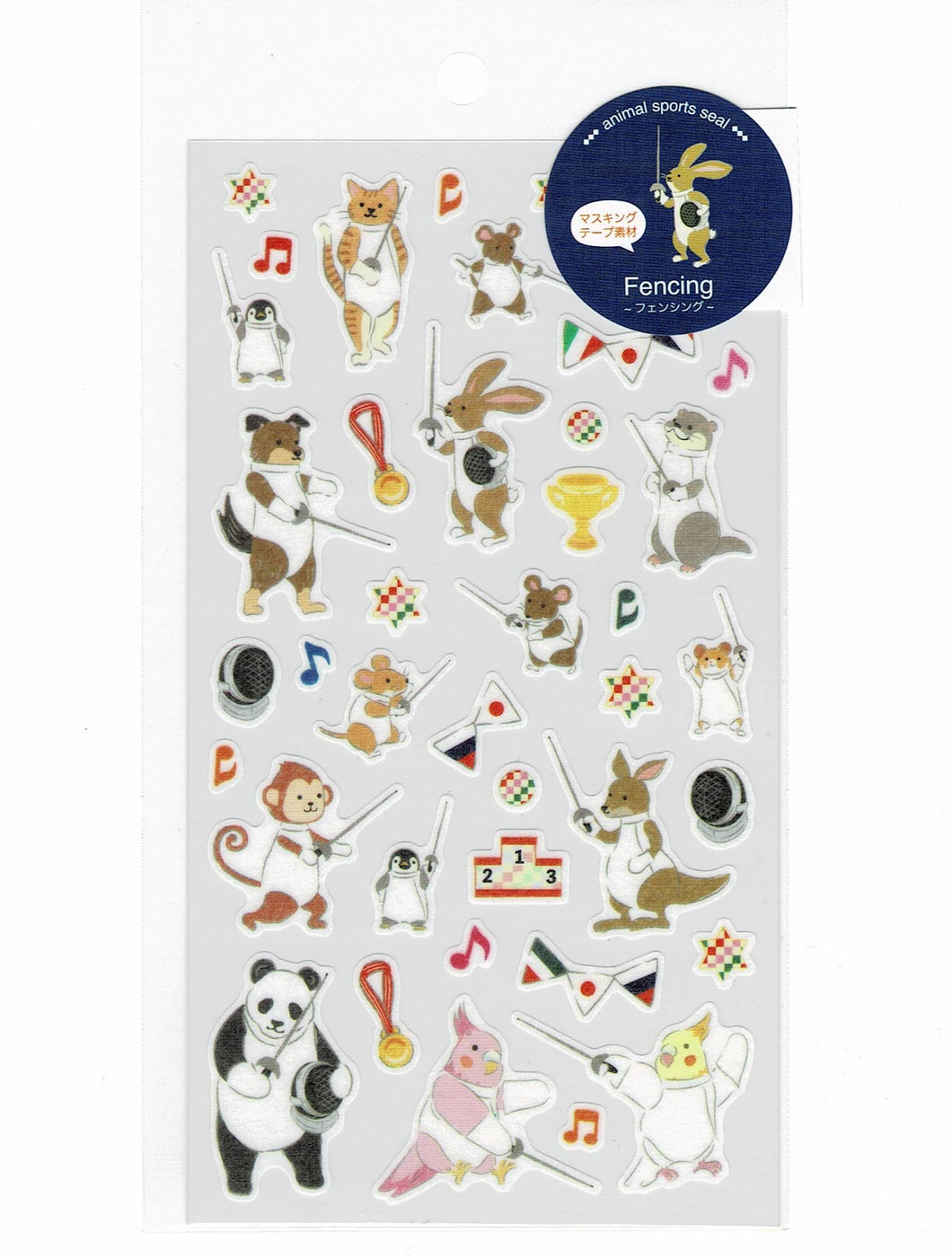 Cockatiel Penguin Cat Mouse Dog Rabbit Otter Panda Monkey Stickers Fencing